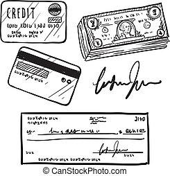 credito, e, finanza, articoli, schizzo