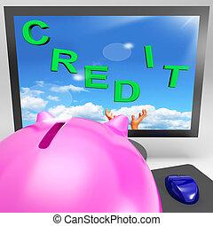 credito, en, monitor, exposiciones, comercio, dinero