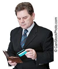 credito, hombre, tarjeta, obteniendo