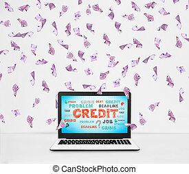 credito, laptop, concetto, schermo