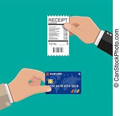 credito, ricevuta, card., tenendo mano