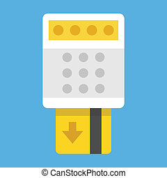 credito, término, vector, tarjeta, quitar