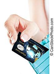 credito, tomado, billetera, tarjeta, mano mujer, afuera
