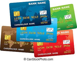 credito, vector, card., ilustración, plástico