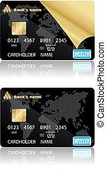 credito, vector, illustration., tarjetas.
