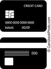 credito, vettore, scheda, icona