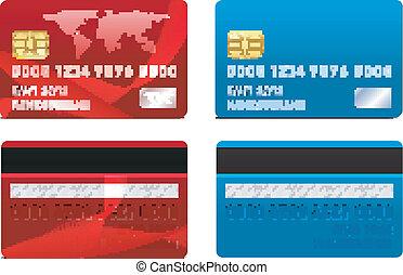 credito, vettore, scheda, sagoma