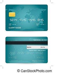 credito, vettore, scheda