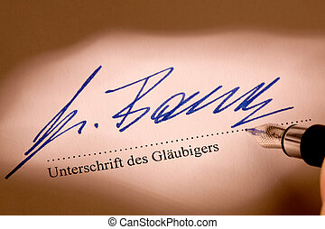 signature of beneficiary under a contract schuldverschreibungs