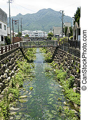 Creek and mountain - Creek flowing through the Shimabara...