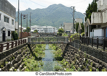 Creek and mountain - Creek flowing through the Shimabara...