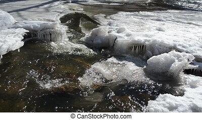 creek cataract ice winter