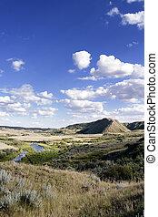 Creek Hills on the Swift Current Creek, near Stewart Valley,...