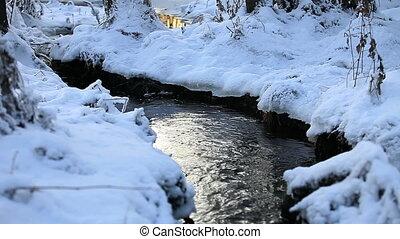 Creek in a snowy forest, winter landscape, loop