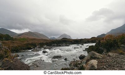 Creek in mountains, Isle of skye - Scotland, UK, wide angle