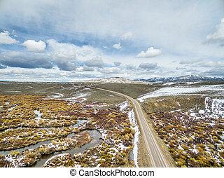 creek in North Park, Colorado - aerial view of meandering ...