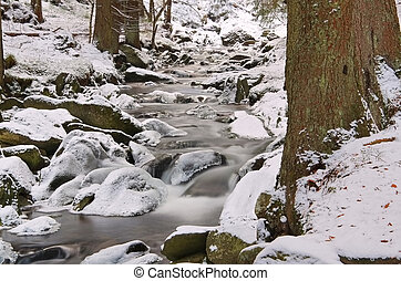 creek in the Giant Mountains in winter