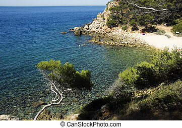 Creek of Engraviers on mediterraneen sea and swimmers, on Bandol, French riviera, France