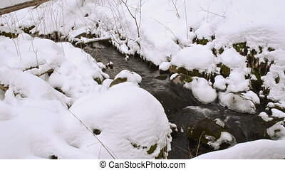 creek snow stone stream