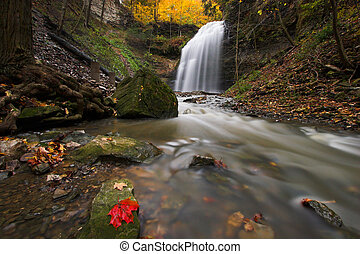 Creek with waterfall - Wide angle image of creek in a canyon...