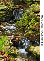 Creek with waterfalls - Creek with small waterfalls in...