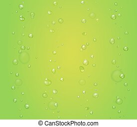 creen, kiwi, aloès, illustration, jus, drops., vecteur, fond, chaux, bulles, ou
