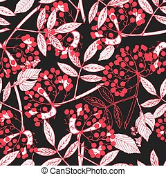 Creeper berries seamless pattern - Classic botanical...