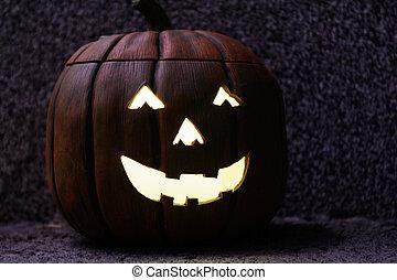 Creepily lit Halloween pumpkin - Decorative Halloween...