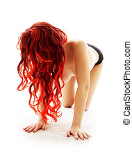 creeping redhead lady - picture of creeping topless redhead...