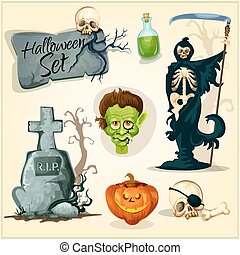 Creepy and horror elemens for Halloween designs - Vector ...