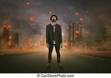 Creepy asian zombie man in suit standing on the street