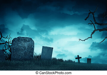 Creepy atmosphere in the cemetery with tombstone in the...
