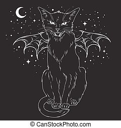 Creepy black cat with monster wings over night sky with moon...