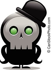 creepy cartoon skull character with bowler hat over white