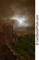 Creepy Castle - Carcasonne Castle in France with a stormy...