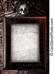 Creepy Frame - Old wooden frame and blank paper hanged on a...