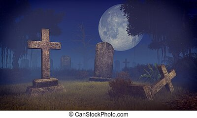 Creepy graveyard under big full moon