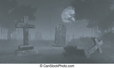 Creepy graveyard under full moon - Old decaing tombstones at...