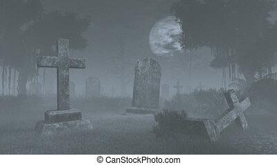 Creepy graveyard under full moon - Old decaing tombstones at...
