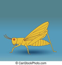 Grasshopper Insect - Creepy Green Grasshopper Insect Vector...