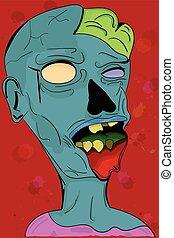 Creepy grey illustrated zombie