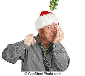 Creepy Guy Checking Breath Under Mistletoe