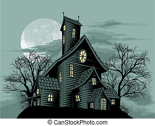 creepy, haunted, genfærd, hus, scene, illustration