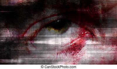 Creepy horror grunge eye looping 480F abstract background