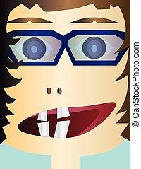 Creepy kid head cartoon character w