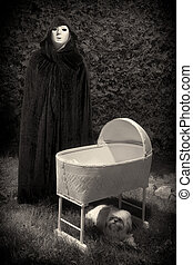 Creepy Masked and Cloaked Figure - Vintage looking photo of...