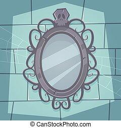Cartoon illustration of the creepy retro mirror with skull.