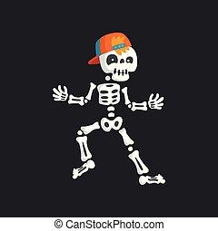 Creepy skeleton character in baseball cap dancing rap vector Illustration