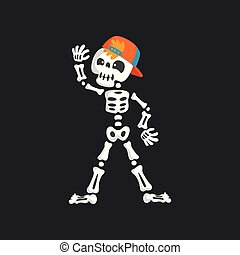 Creepy skeleton character in baseball cap dancing vector Illustration