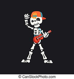 Creepy skeleton character in baseball cap playing guitar vector Illustration